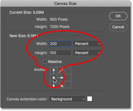 کادر محاوره ای Canvas Size در Photoshop CC.