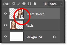 لایههای هوشمند نمادی را در پایین سمت راست تصویر کوچک خود نمایش می دهند