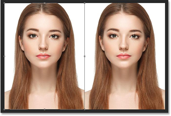 جعبه و دسته های Free Transform در اطراف تصویر مبتنی بر پیکسل در سمت چپ در فتوشاپ ظاهر می شوند