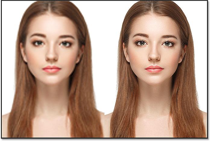 مقایسه یک لایه هوشمند و یک نسخه پیکسلی از تصویر که به ابعاد اصلی رسیده است.