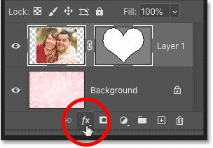 روی نماد Add Layer Style در پنل لایه های فتوشاپ کلیک کنید