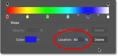 تعیین محل رنگ آبی در شیب رنگین کمان بر روی 80 درصد