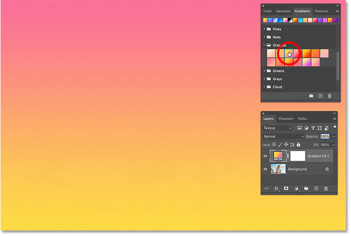 نحوه انتخاب شیب رنگ های مختلف در Photoshop CC 2020