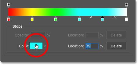 برای تغییر رنگ به آبی روی توقف رنگ کلیک کنید