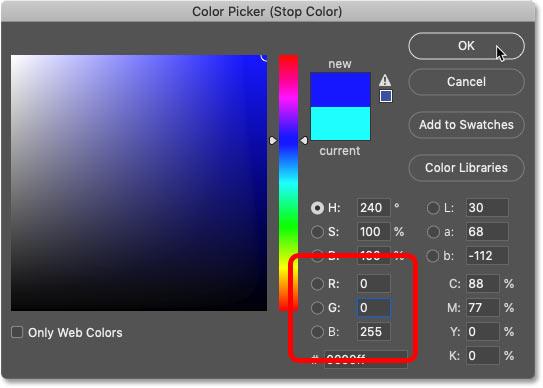 انتخاب رنگ آبی در Color Picker فتوشاپ