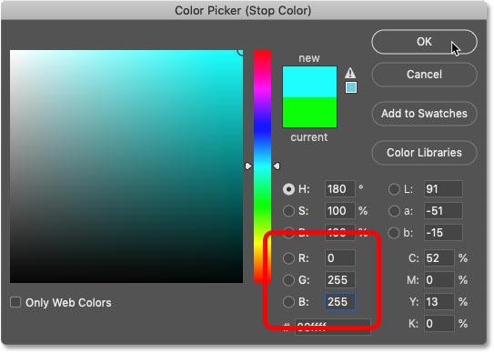 انتخاب فیروزه ای برای شیب رنگین کمان در Color Picker فتوشاپ