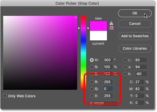 انتخاب سرخابی در Color Picker فتوشاپ