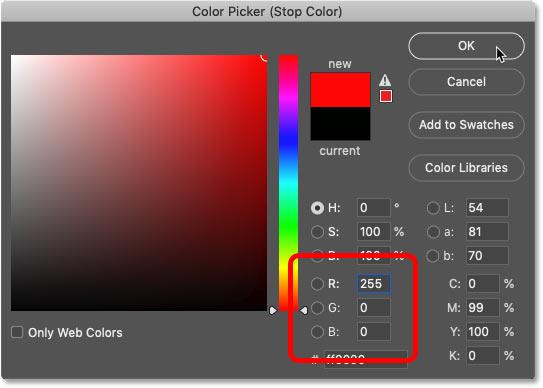 تغییر رنگ سیاه در شیب به قرمز در Color Picker فتوشاپ