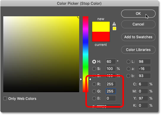 تغییر رنگ جدید در شیب رنگین کمان به زرد در Color Picker فتوشاپ