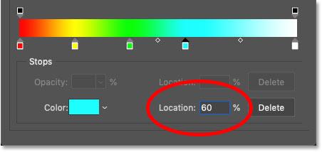 تعیین محل فیروزه ای در شیب رنگین کمان روی 60 درصد