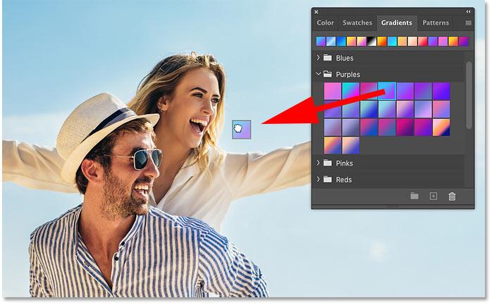 نحوه کشیدن و رها کردن شیب رنگ ها در Photoshop CC 2020