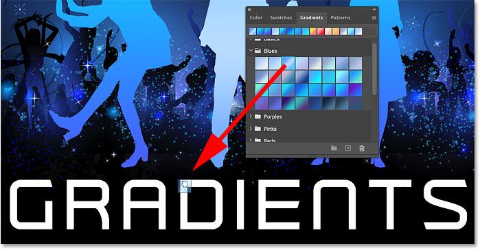 یک شیب رنگ را از صفحه Gradients فتوشاپ بر روی متن موجود در سند بکشید.