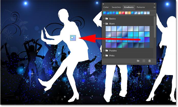 کشیدن و انداختن یک شیب رنگ از صفحه Gradients روی یک شکل در فتوشاپ
