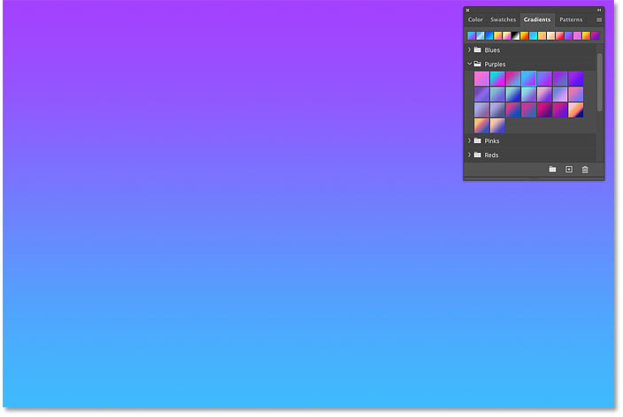 نتیجه پس از کشیدن و انداختن یک شیب رنگ بر روی یک عکس در Photoshop CC 2020