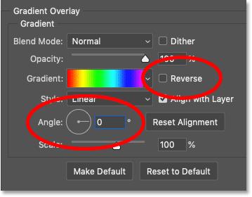 تغییر زاویه کادر گفتگوی Layer Style Photoshop از شیب رنگین کمان