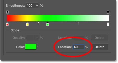 تعیین محل سبز در شیب رنگین کمان روی 40 درصد