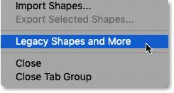 بارگیری Legacy Shapes و موارد دیگر از منوی پنل Shapes در فتوشاپ