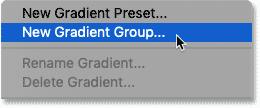 انتخاب دستور New Gradient Group در فتوشاپ