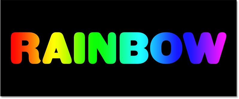 یک متن شیب رنگین کمان در فتوشاپ ایجاد شده است