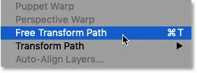 انتخاب دستور Free Transform Path در فتوشاپ