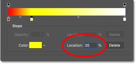 تعیین محل رنگ زرد در شیب بر روی 20 درصد