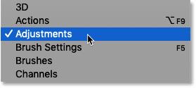 رفتن به منوی Image و انتخاب Adjustments در نوار منوی Photoshop