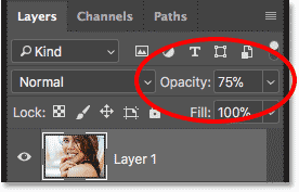 کاهش میزان Opacity لایه بالایی تا 75 درصد