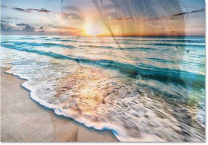 نحوه ترکیب دو تصویر با هم در فتوشاپ با استفاده از گزینه لایه Opacity