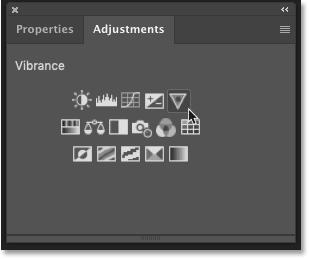 نمادهای لایه تنظیمات در پانل تنظیمات فتوشاپ
