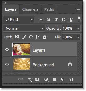 پانل لایه ها در فتوشاپ هر عکس را در یک لایه جداگانه نشان می دهد