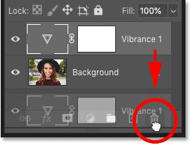 حذف لایه تنظیم گردر پنل لایه های فتوشاپ