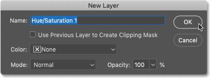 در هنگام افزودن لایه های تنظیم گر از نوار منوی Photoshop ، کادر محاوره ای New Layer باز می شود