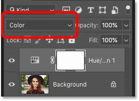 تغییر حالت ترکیب لایه تنظیم گر Hue / Saturation در صفحه لایه های فتوشاپ