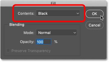 گزینه محتویات را در کادر محاوره ای پر کردن فتوشاپ روی Black تنظیم کنید